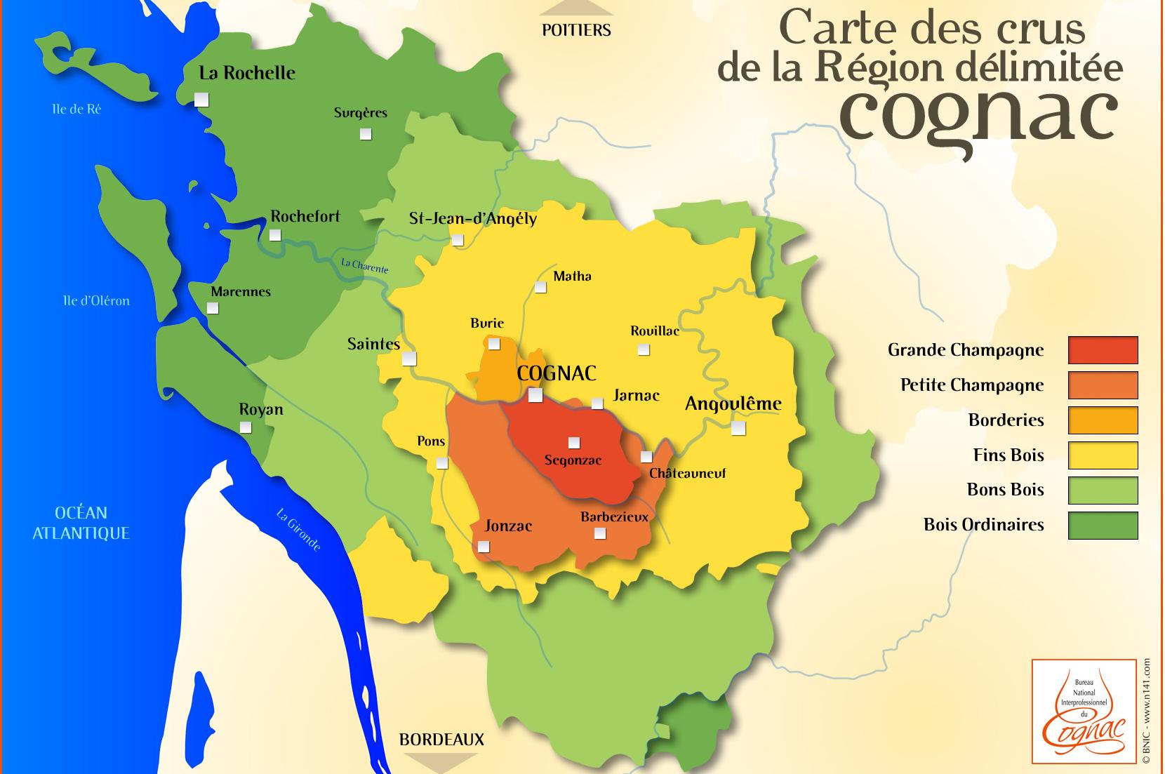 cognac production area map