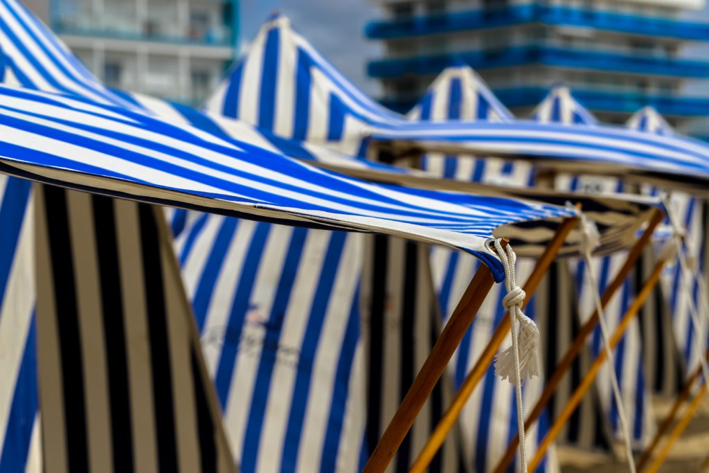Striped tents on Royan beach